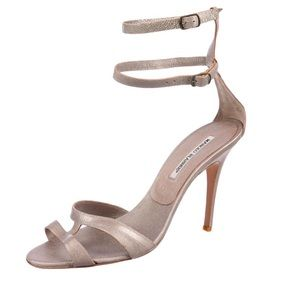 MANOLO BLAHNIK Pewter Leather Ankle Strap Sandals